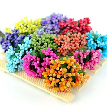 12pcs lot Mini artificial Stamen Bud Bouquet Leaf flower for home Garden wedding Car corsage decoration Box crafts Supplies