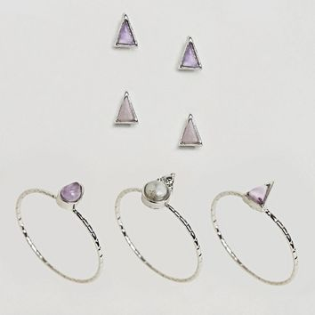 ASOS DESIGN pack of 5 stone stud earrings and rings at asos.com