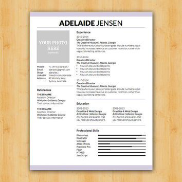 Adelaide Resume and Cover Letter Template - Helping You Save Time & Get The Dream Job You Deserve - Instant Download - DocX and Doc Format