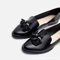 Autumn Leather Tassels Flat Shoes [4918260676]