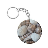 Sunny Seashells Collection Nature Summer Basic Round Button Keychain