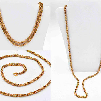 Vintage Givenchy Gold Byzantine Chain Necklace, Round, Textured, Fancy Chain, 3D, Thick, Logo Clasp, 30 Inches, NOS, Elegant! #c441
