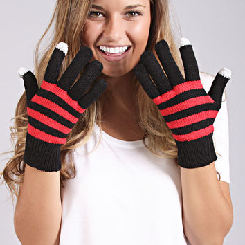 festive striped gloves - black