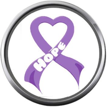 Purple Ribbon Hope For All Cancer Support Cure Ribbons Awareness 18MM - 20MM Snap Jewelry Charm