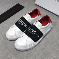 GIVENCHY Paris Strap Men Leather White Red Low Sneakers - Best Deal Online