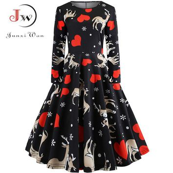 Elegant Women Dress Bodycon Long Sleeve A Line Midi Party Dress Floral Print Vintage Christmas Dresses vestidos