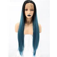 Long Black To Dark Blue Ombre Synthetic Lace Front Wig