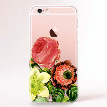 Clear Transparent iPhone 6s case, iPhone 6s plus case, iPhone 6 Case, iPhone 6 Plus Case, iPhone 5S Case, iPhone 5C Case - Flower gathering