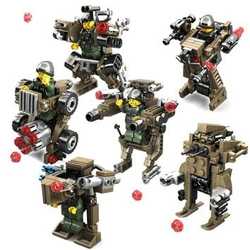 KAZI 6set/lot Transformation Weapons Military Blocks Toys Armored Car Robot Action Figures Building Blocks Compatible Legoe City
