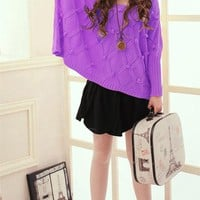 Loose-Fitting Rhombus Little Balls Decorated Batwing Sleeve Sweater For Women