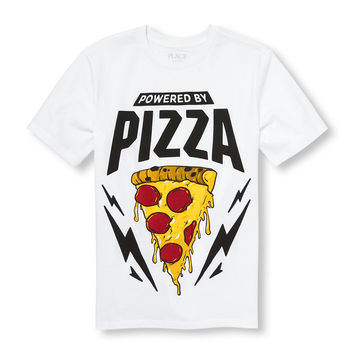 Boys Short Sleeve 'Powered By Pizza' Graphic Tee   The Children's Place