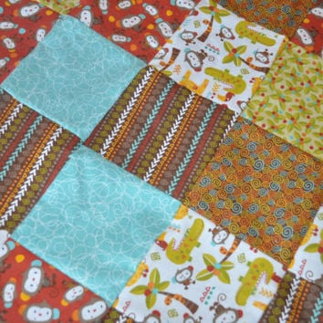 ON SALE Monkey jungle Patchwork minky backed flannel baby quilt blanket, Ready to ship.