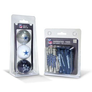 Dallas Cowboys NFL 3 Ball Pack and 50 Tee Pack