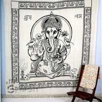Lord Ganesha Hippie Tapestry, Ganesha Wall Hanging, Indian Bedspread Bed Cover Throw Cotton Hippie Coverlet, Bohemian Blanket, Ethnic Decor