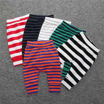 NZ288 Hot 2017 Striped Bloomers Baby Boys Girls Leggings Children Cotton Trousers For Infatnil Bebes clothes winter clothes