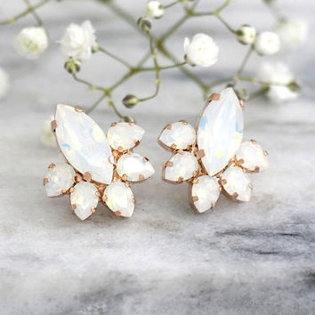Bridal Earrings, Opal Earrings, Bridal Opal Earrings, Moonstone Earrings, Bridal Opal Studs, Opal Swarovski Earrings, Bridesmaids Earrings