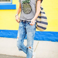 Gray Pineapple Print T-Shirt B005789
