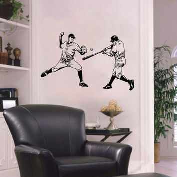 Vinyl Decal Sport Sportsman Man Playing Baseball Bat Home Wall Decor Stylish Sticker Mural Unique Design Kids for Any Room V785