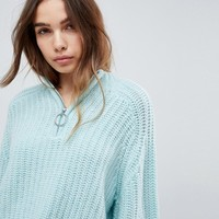 Weekday Exposed Zip Thick Rib High Neck Knit at asos.com