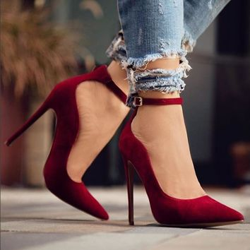 Ankle Strap Pointy Toe Adjustable Sassy Shoes