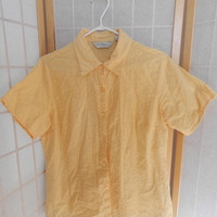 Sweet Yellow Floral Embroidered Cotton Blouse / Shirt, Size M Vintage Clothing