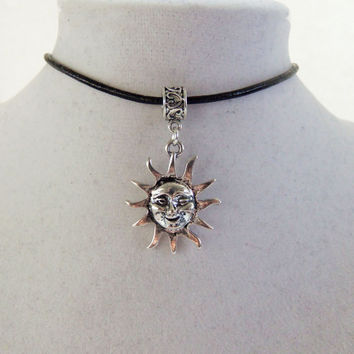 Sun choker, sun necklace, hipster jewelry, hippie necklace, sun with face charm, charm choker, charm necklace, grunge choker, black choker