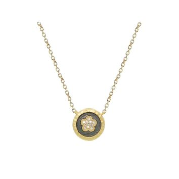 "Vermeil Daisy Flower Disk Pendant Necklace, 15.5"" +1.5"""