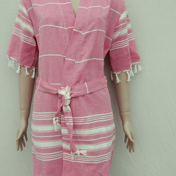 Turkish peshtemal style women's kimono bathrobe, beach cover up robe, spa robe, dressing gown, morning gown.