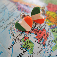 "World Flag Heart Earrings... Irish ""I Love Ireland"""
