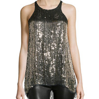 Brody Embellished Sleeveless Top, Gold