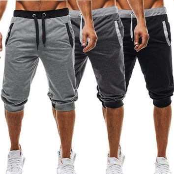 Mens Summer Casual Drawstring Shorts Knee Joggers