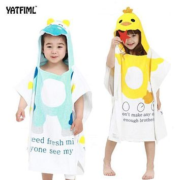 YATFIML Baby Bath Towel Child Cotton Animals Swim Robes Boys And Girls Hooded Cute Bathrobe Beach Pool Swimming Poncho Style