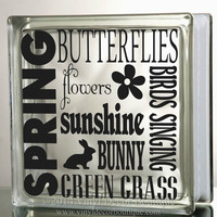 Spring Easter Butterflies new life into the world Art Glass Block Decal Tile Mirrors DIY Decal for Glass Blocks Spring Easter Butterflies