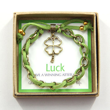 "Lucky ""Four Leaf Clover"" Charm Bracelet in a Gift Box"