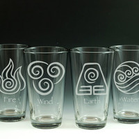 Avatar: The Last Airbender - The Legend of Korra - Elements - 4 Pint Glass Set