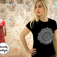 Mandala Shirt Bohemian Design Boho Black Shirt