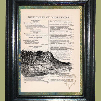 Head of a Swamp Alligator Art - Vintage Dictionary Page Book Art Print Unique Page Art Mixed Media Art Alligator Print