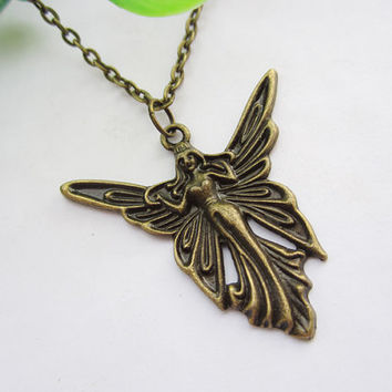 Butterfly elves necklace--butterfly pendant, antique bronze charm necklace,alloy chain