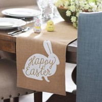 Burlap Happy Easter Bunny Table Runner