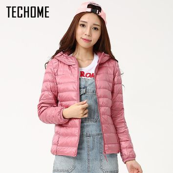 Autumn Winter Down Jackets For Women Brand Designer Hooded Coat Ultra Light Duck Down Jacket Womens Hoodes Warm Winter Coats
