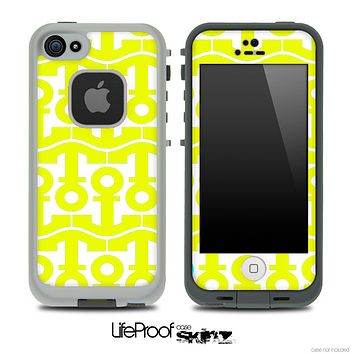 White and Yellow Anchor Collage Skin for the iPhone 5 or 4/4s LifeProof Case