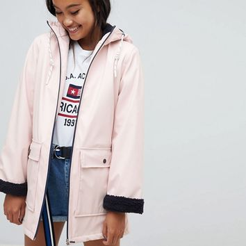 Pull&bear faux fur lined raincoat in ecru at asos.com