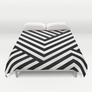 Black and White Stripes Duvet Cover by Liv B