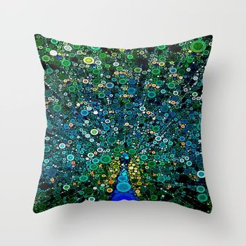:: Peacock Caper :: Throw Pillow by :: GaleStorm Artworks ::