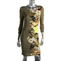 ABS by Allen Schwartz Womens Floral Print 3/4 Sleeves Casual Dress
