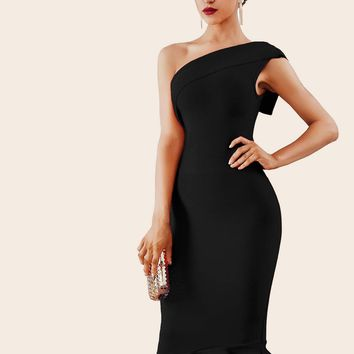 Adyce Ruffle Hem One Shoulder Bandage Pencil Dress