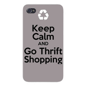 Apple Iphone Custom Case 4 4s Plastic Snap on - Keep Calm and Go Thrift Shopping & Recycle