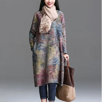 Johnature Women Dress Vintage 2017 Autumn New Plus Size Women Clothes Loose Korean Fashion Cotton Linen Print Floral Warm Dress
