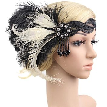 Elegant 1920s Feather Headband Bridal 20's Great Gatsby Flapper Costume Dress Headpiece Party Dress Valentines Day Gift
