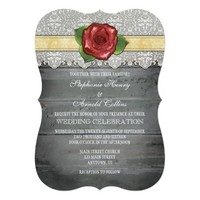 Cream Ivory Gray Rustic Wood Rose Wedding Invite